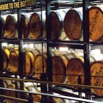 Barrels aging in the rickhouse