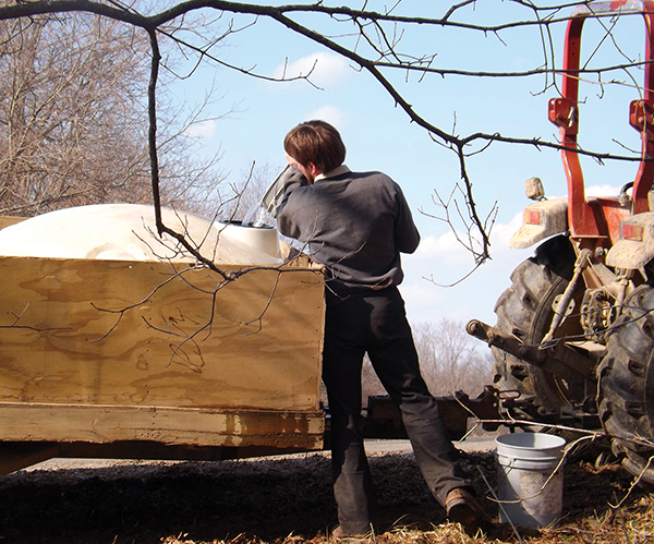 Pouring gathered sap into a container for hauling