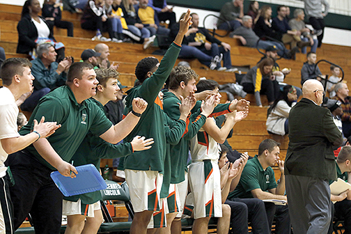 Celebrating on the Vincennes Lincoln bench
