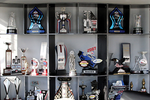Trophies at Andretti Autosport Complex