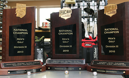 VU Golf trophies and rings