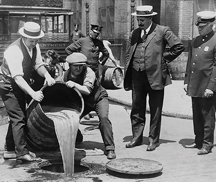 Pouring out booze during Prohibition