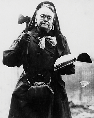 Carrie Nation with hatchet